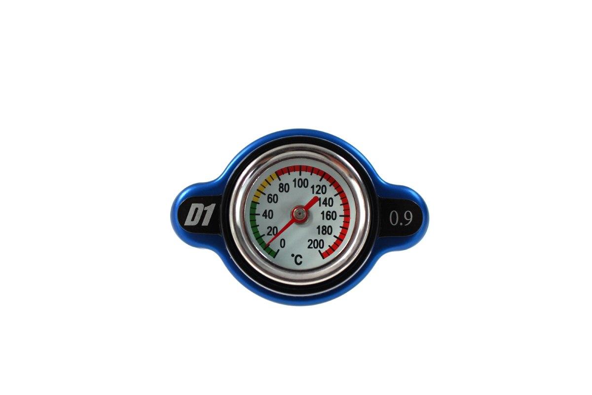 Korek wlewu chłodnicy z termometrem D1Spec 28mm Blue 0.9Bar - GRUBYGARAGE - Sklep Tuningowy